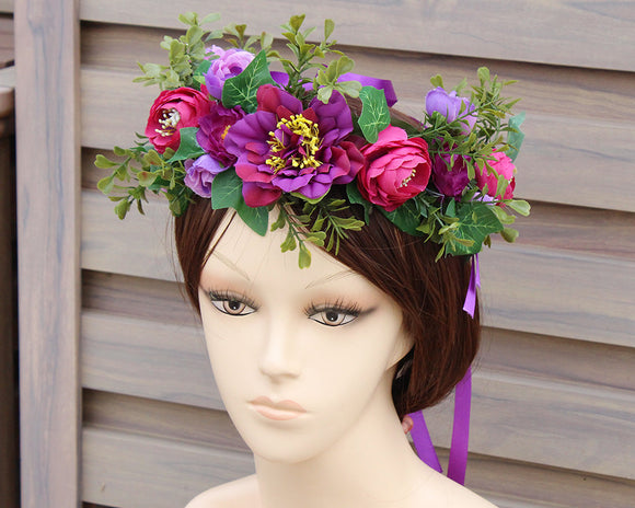 Bohomian Princess Purple Blossom Flower Crown - Fashionista Style