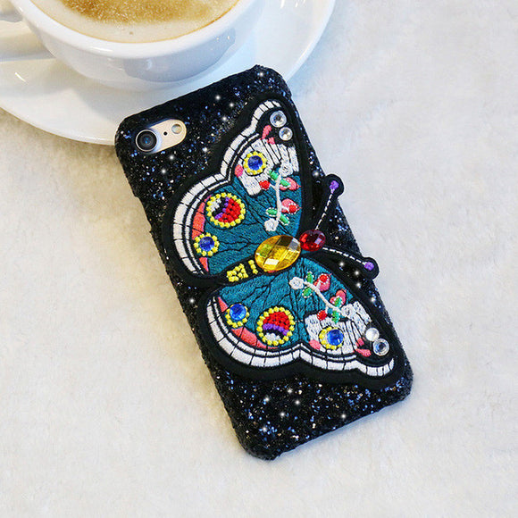Butterfly Embroidery Bling Case For iPhone 6 6s &  iPhone 7 7Plus