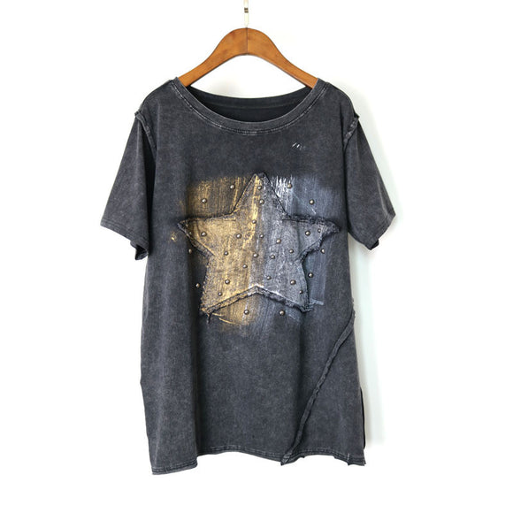 Keep Shining Vintage Rivets Silver & Gold Star T-Shirt - Fashionista Style