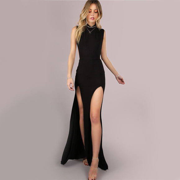 Steppin Out Black Mesh Back Maxi Dress