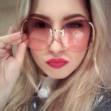 Crystal Clear Oversized Rimless Sunglasses
