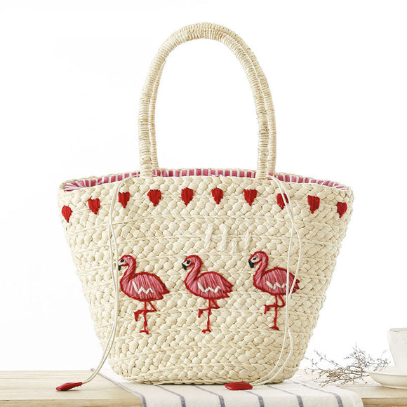 All Legs Embroidery Woven Beach Tote
