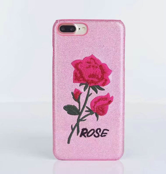 Rosebud Embroidered  Hard Case For  iPhone 6 6s 6 plus & iPhone 7 7plus