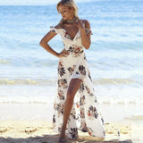 Floral Print Deep V Neck Spaghetti Strap Chiffon Long Dress - Fashionista Style