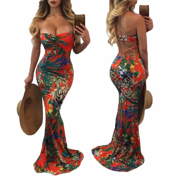 Island Girl Floral Multi-Color Strapless Maxi Dresses