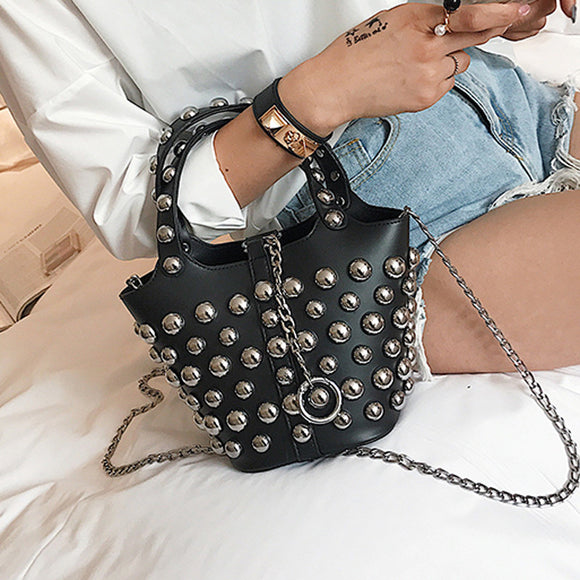 Heavy Metal Studded Crossbody Handbag - Fashionista Style