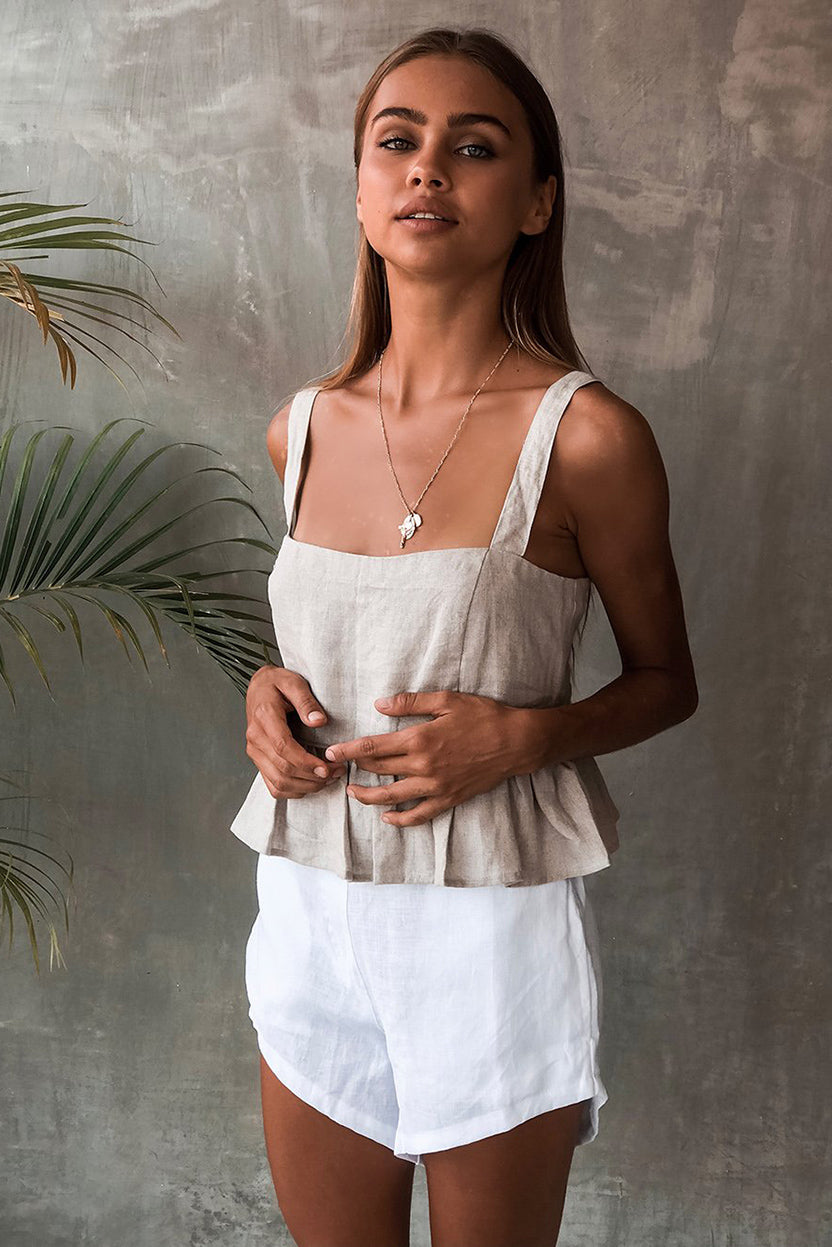 TALON TOP - STONE LINEN