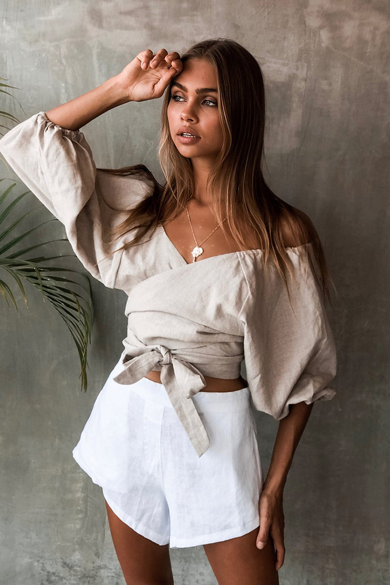 SAVANNAH WRAP TOP - STONE LINEN