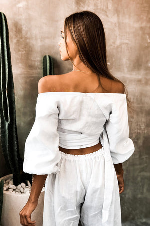 SAVANNAH WRAP TOP - WHITE LINEN