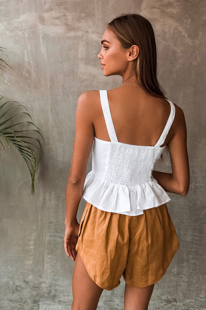 TALON TOP - WHITE LINEN