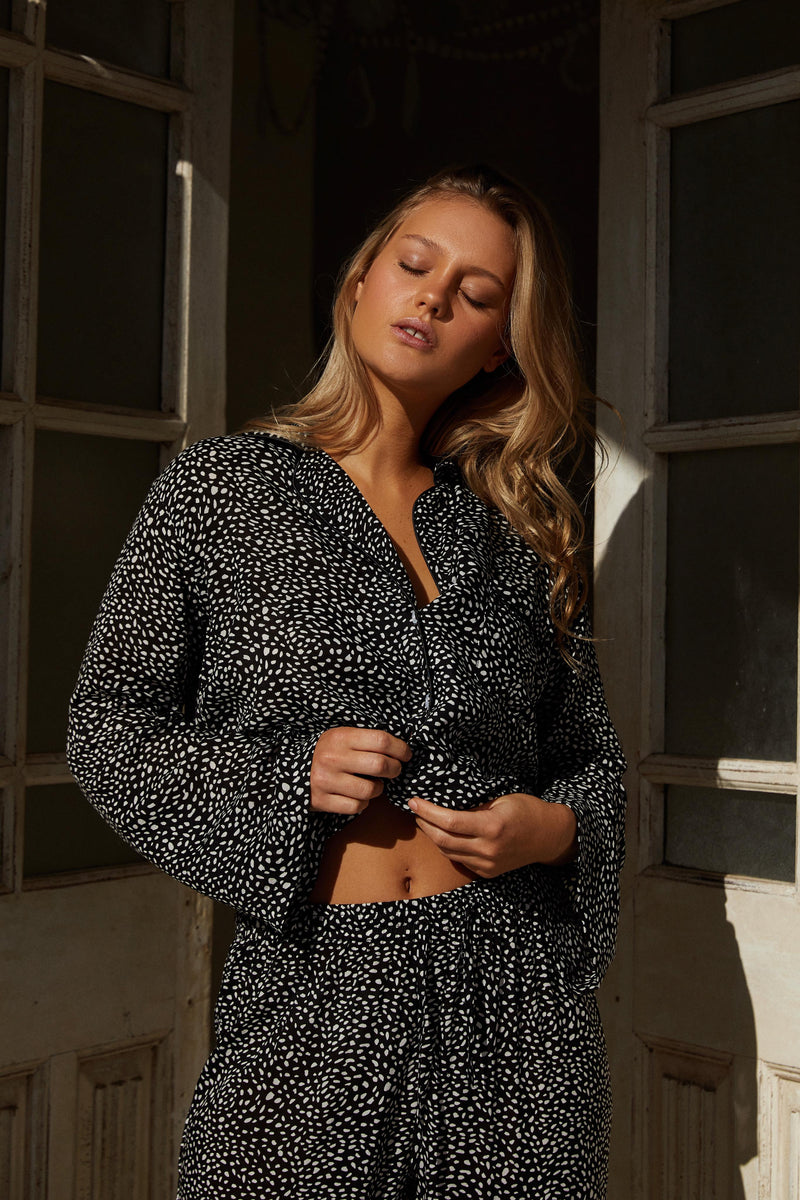 PALOMA LONG SLEEVE PJ SET - BLACK SNOW