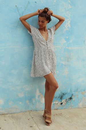 CORAZON DRESS - SNOW LEOPARD