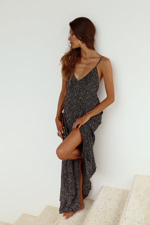 VERADO MAXI DRESS - BLACK SNOW