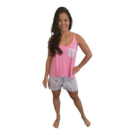 Ruffle Short with Bow Back Tank-Pink with Lavender Seersucker Shorts - Dixieland Monogram