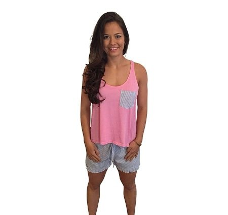 Ruffle Short with Bow Back Tank Set-Pink with Navy Seersucker Shorts - Dixieland Monogram