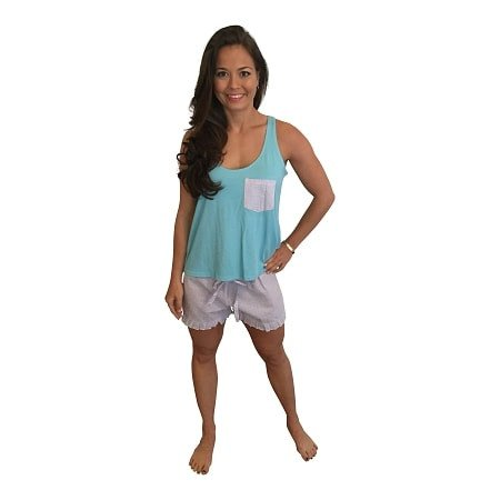 Ruffle Short and Bow Back Tank Set-Teal Tank with Lavender Seersucker Shorts - Dixieland Monogram