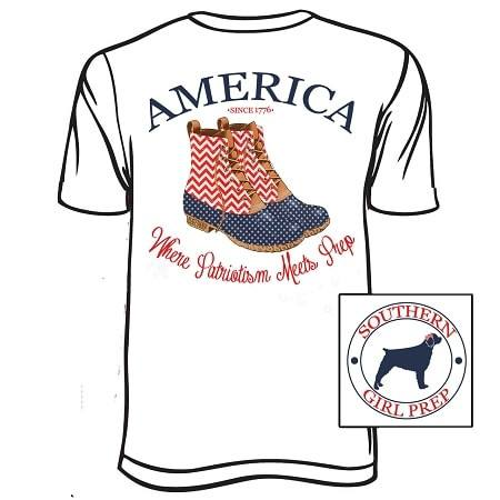 White America Duck Boots Short Sleeve T-Shirt-Youth and Adult Sizes Available - Dixieland Monogram