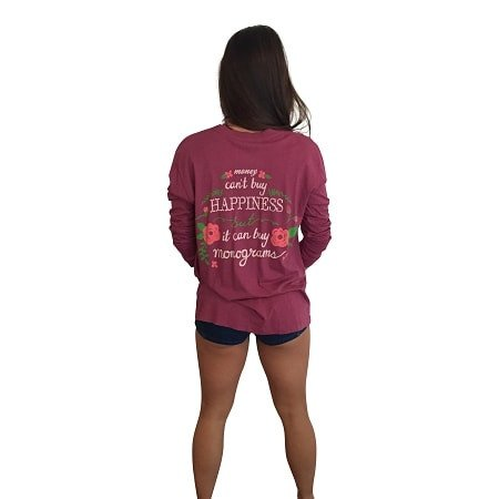 Money Can't Buy Happiness Long Sleeve Pocket Tee-Berry Southern - Dixieland Monogram
