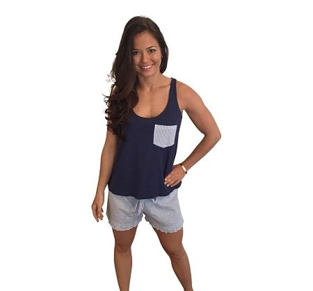 Ruffle Short with Bow Back Tank Set-Navy with Navy Seersucker Shorts - Dixieland Monogram