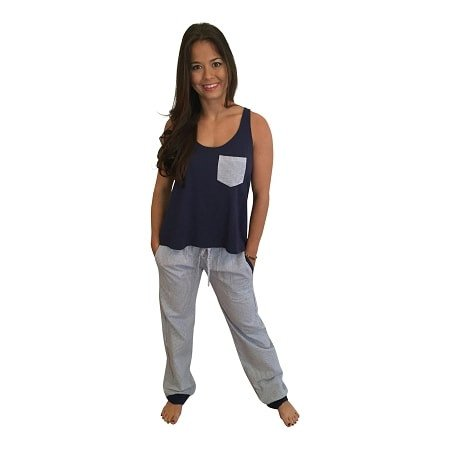 Seersucker Pants with Bow Back Tank Set-Navy with Navy Seersucker Pants - Dixieland Monogram