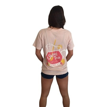 If Sweet Tea Can't Fix It Short Sleeve Pocket Tee-Pale Pink Lemonade - Dixieland Monogram