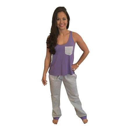 Seersucker Pants with Bow Back Tank Set-Purple with Grey  Seersucker Pants - Dixieland Monogram