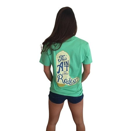 This Ain't My First Rodeo Short Sleeve Pocket T-Shirt-Seafoam Green - Dixieland Monogram