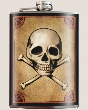 Skull and Bones Flask - Dixieland Monogram