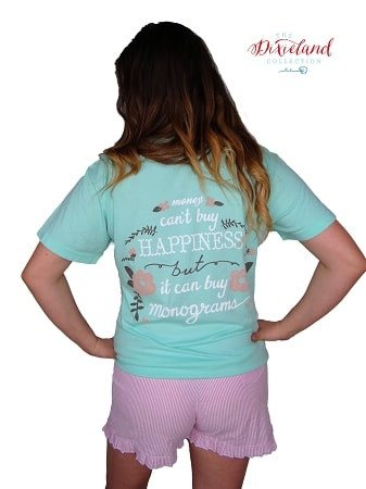 Monograms are Happiness Short Sleeve Pocket Tee-Southern Shores Aqua - Dixieland Monogram