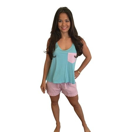 Ruffle Short and Bow Back Tank Set-Teal Tank with Hot Pink Seersucker Shorts - Dixieland Monogram