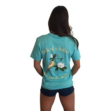 Birds of a Feather Wear Seersucker Together Short Sleeve Pocket T-Shirt-Teal - Dixieland Monogram