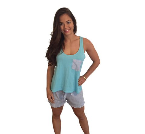 Ruffle Short and Bow Back Tank Set-Teal Tank with Navy Seersucker Shorts - Dixieland Monogram