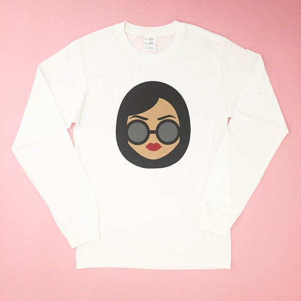 """Resting Doll Face"" long sleeve in white"
