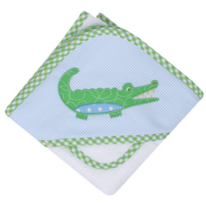 Three Marthas Blue Gator Hooded Towel And Washcloth Set