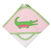 Three Marthas Pink Gator Hooded Towel And Washcloth Set