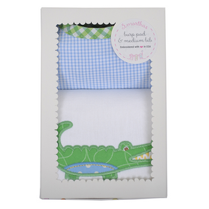 Three Marthas Blue Gator Burp Pad And Medium Bib Boxed Gift Set