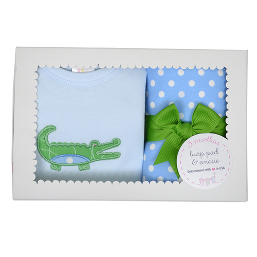 3 Marthas Blue Gator Onesie & Burp Pad Boxed Set