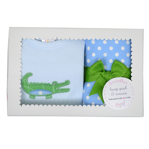 Three Marthas Blue Gator Onesie And Burp Pad Boxed Set