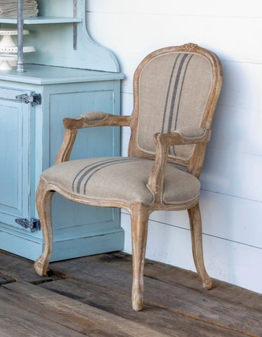 PHC French Stripe Linen Uphol Arm Chair