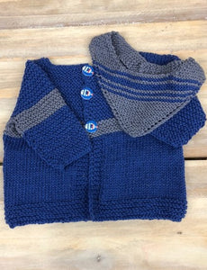 Loving Hands Knitted Sweater & Bib Set #6