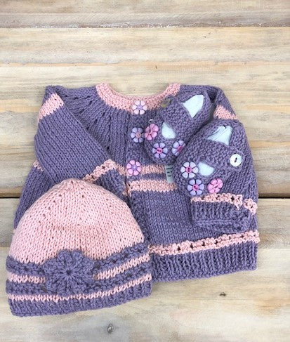 Loving Hands Knitted Sweater, Hat & Booties Set #7