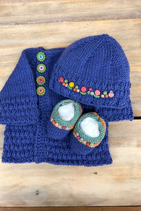 Copy of Loving Hands Knitted Sweater,Hat  & Booties Set #1