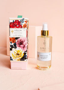 Lollia Always In Rose Dry Body Oil and Box