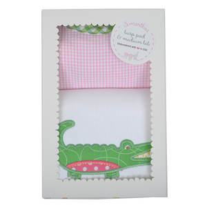 3 Marthas Pink Gator Burp Pad & Medium Bib Boxed Gift Set