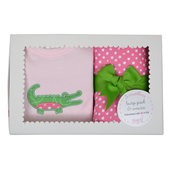 Three Marthas Pink Gator Onesie And Burp Pad Boxed Set