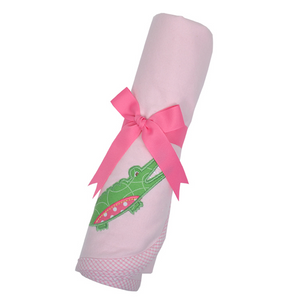 Three Marthas Pink Gator Receiving Blanket