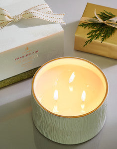 Thymes Frasier Fir Candle Poured Ceramic 3 Wick