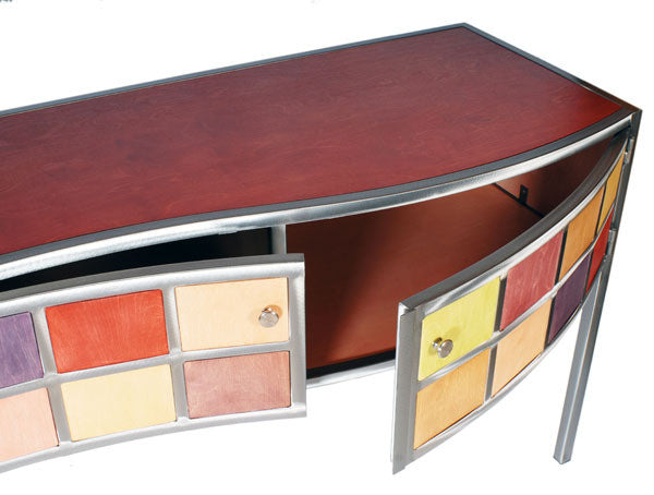 Venezia Furniture Artsy Console  with doors open Handmade in America