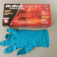 HRP Disposable Powder Free Nitrile Textured Gloves (Size XLarge) 50 Pairs