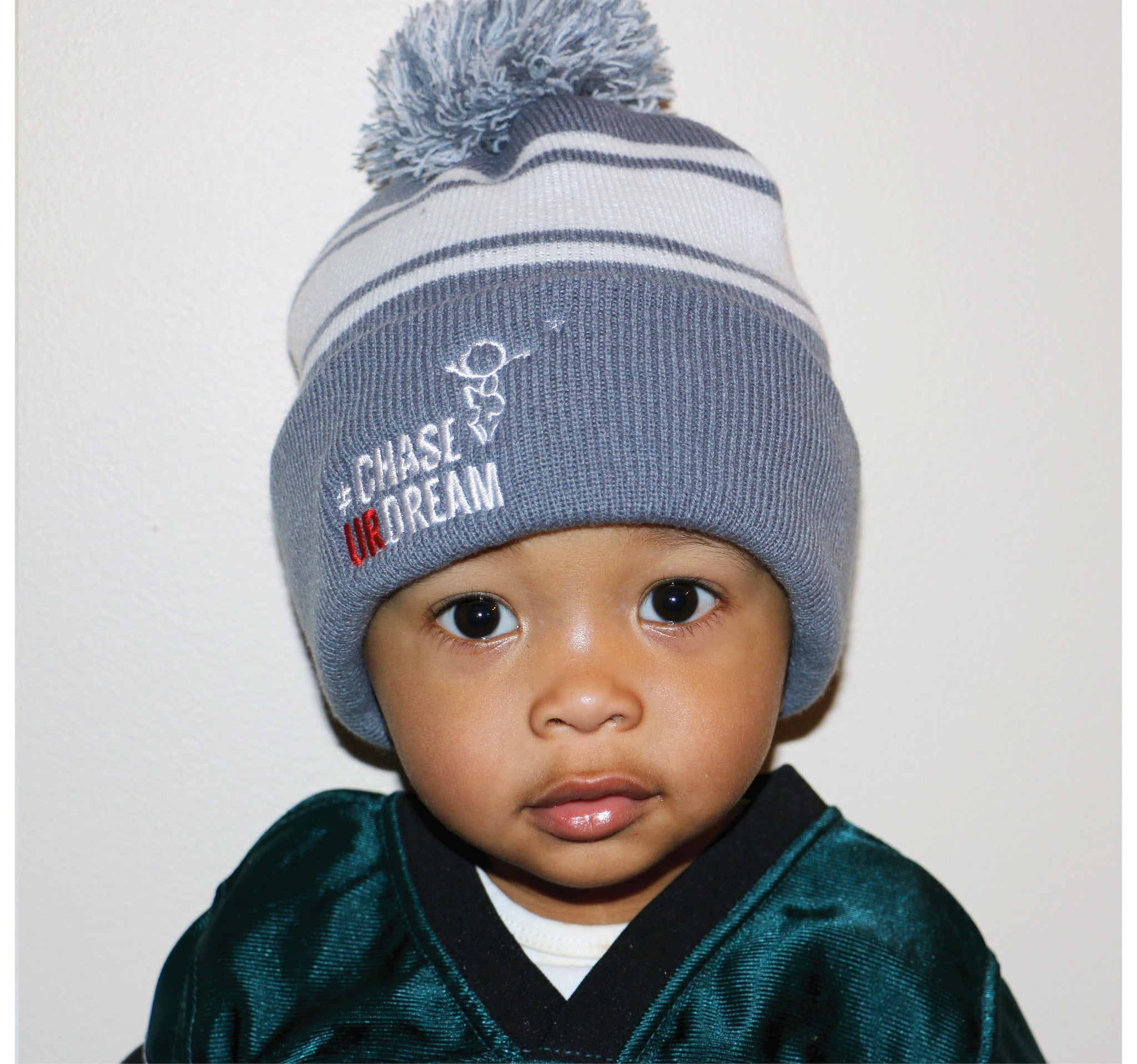 Chase Ur Dream Children's Knit Hat (grey and white)